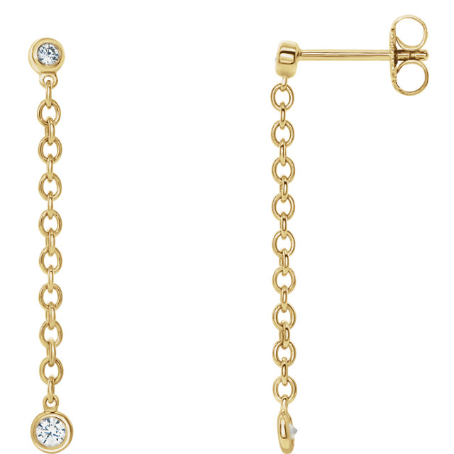 14 Karat Gold Bezel Set 1/5 CTW Diamond Dangling Chain Earrings