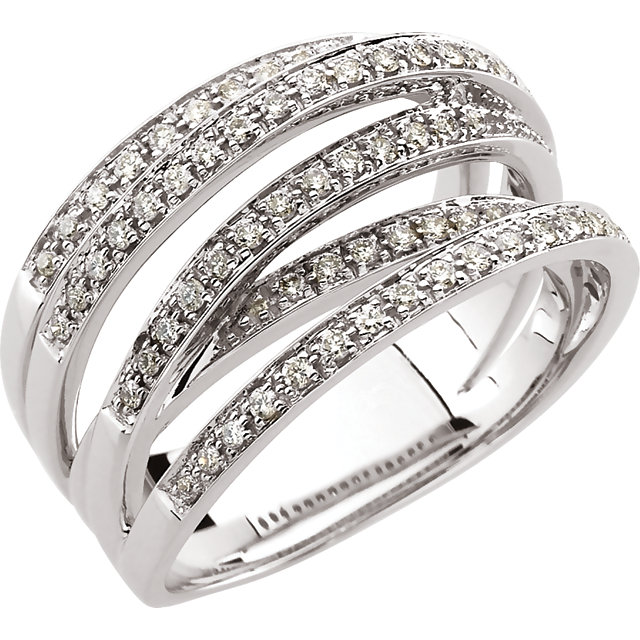 14 Karat White Gold 1/2 Carat Diamond Criss Cross Band Ring