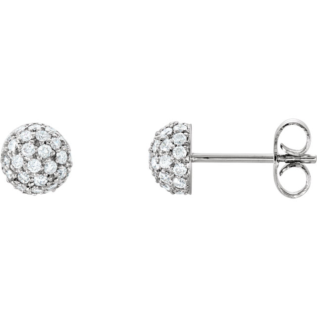 14 Karat Gold 1/2 Carat Diamond Pavé Half Sphere Stud Earrings