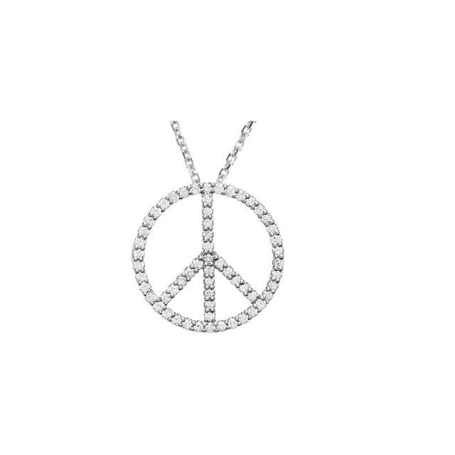 14 Karat Gold 1/3 Carat Diamond Peace Sign Necklace