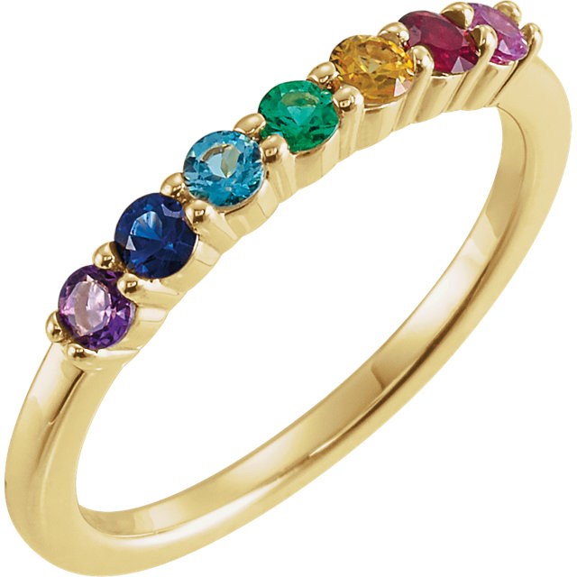 14 Karat Gold Genuine Gemstone Rainbow Prong Set Anniversary Band Ring