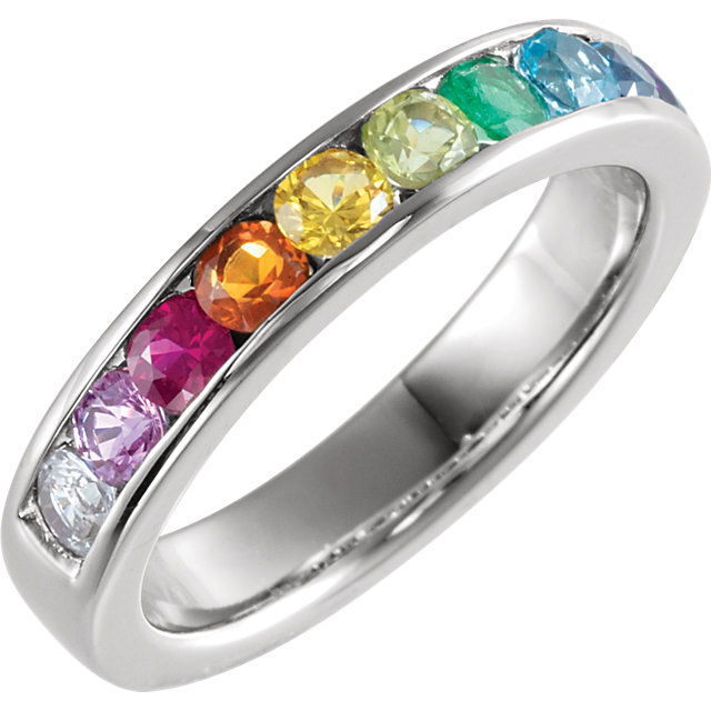 14 Karat Gold Genuine Gemstone Rainbow Channel Set Anniversary Band Ring