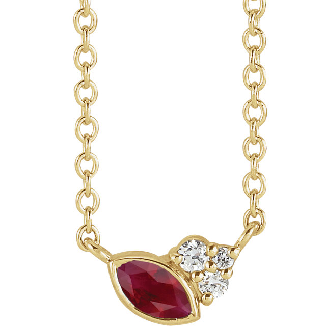 14 Karat Gold Scattered Marquise Ruby & Diamond Multi Stone Necklace
