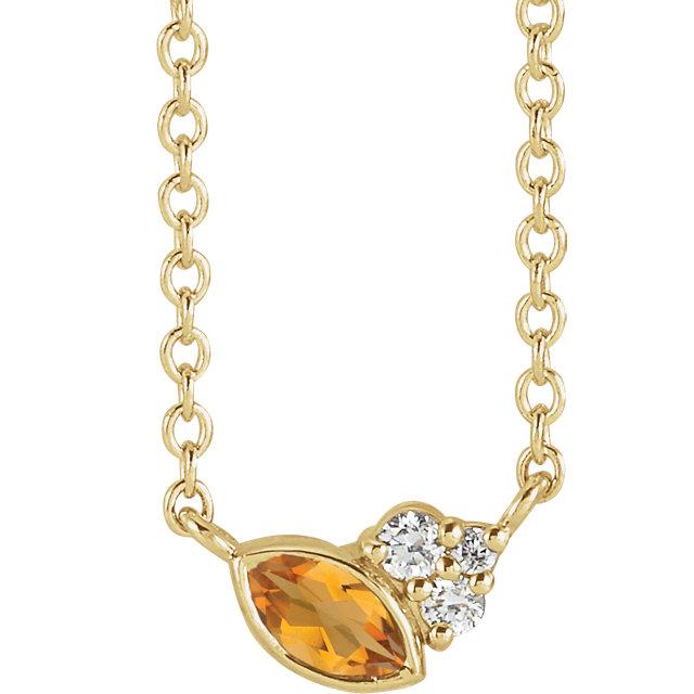14 Karat Gold Scattered Marquise Citrine & Diamond Multi Stone Necklace