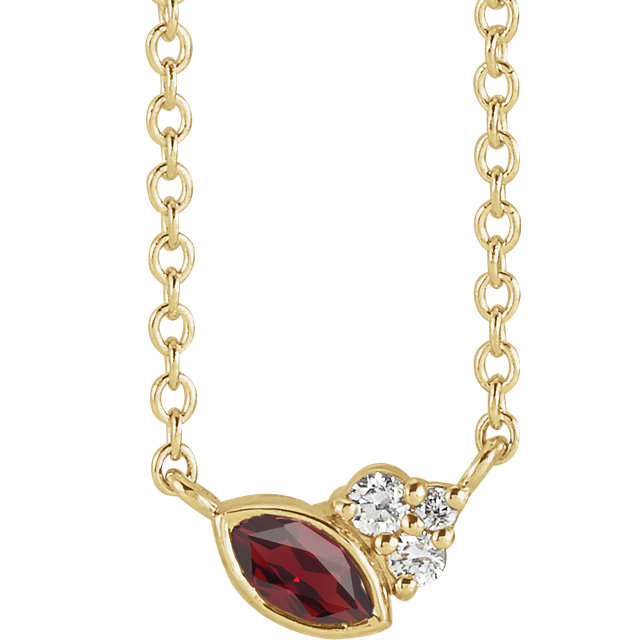 14 Karat Gold Scattered Marquise Mozambique Garnet & Diamond Multi Stone Necklace