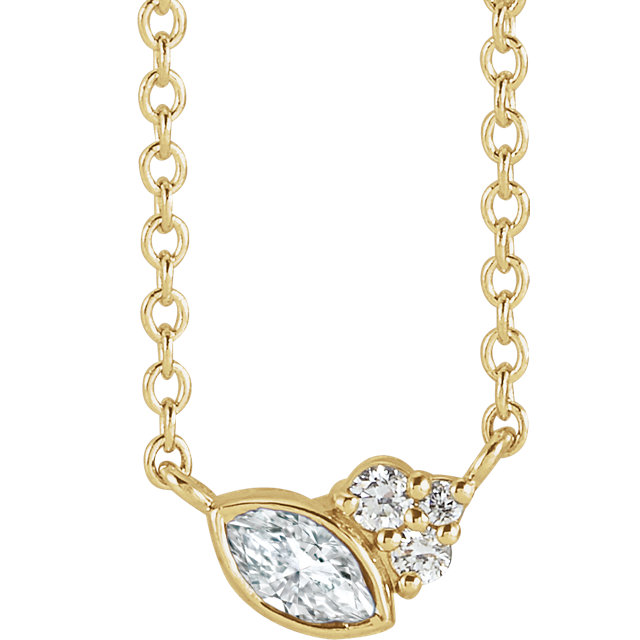 14 Karat Gold Scattered Marquise and Round Diamond Multi Stone Necklace