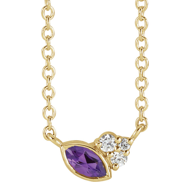 14 Karat Gold Scattered Marquise Amethyst & Diamond Multi Stone Necklace