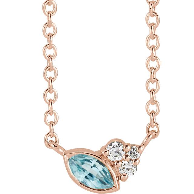 14 Karat Gold Scattered Marquise Blue Zircon & Diamond Multi Stone Necklace