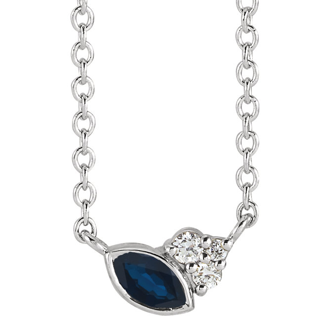 14 Karat Gold Scattered Marquise Blue Sapphire & Diamond Multi Stone Necklace