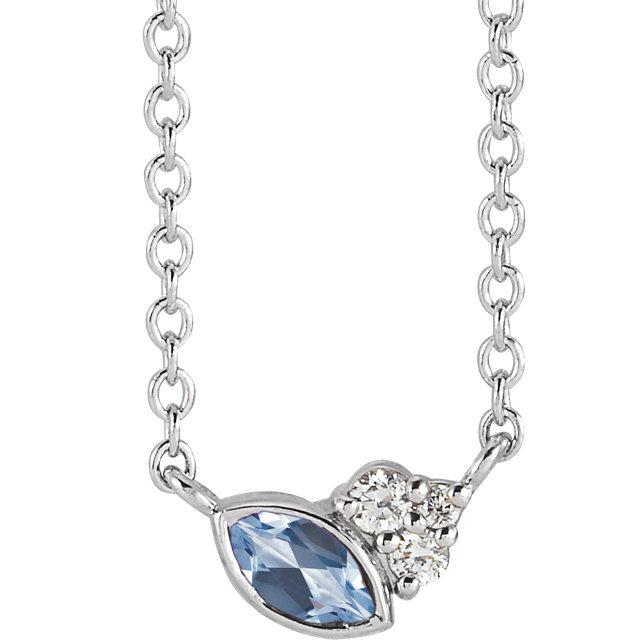 14 Karat Gold Scattered Marquise Aquamarine & Diamond Multi Stone Necklace