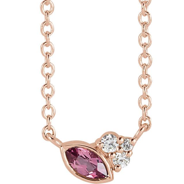 14 Karat Gold Scattered Marquise Pink Tourmaline & Diamond Multi Stone Necklace