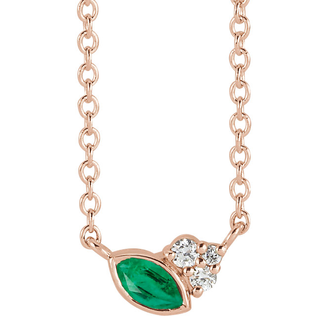 14 Karat Gold Scattered Marquise Emerald & Diamond Multi Stone Necklace